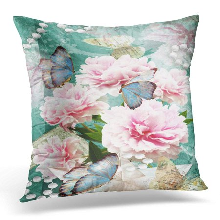CMFUN Flower Congratulations with Peonies Butterflies and Pearls Beautiful Spring Pink for Wedding Birthday Pillow Case Pillow Cover 20x20 inch ()