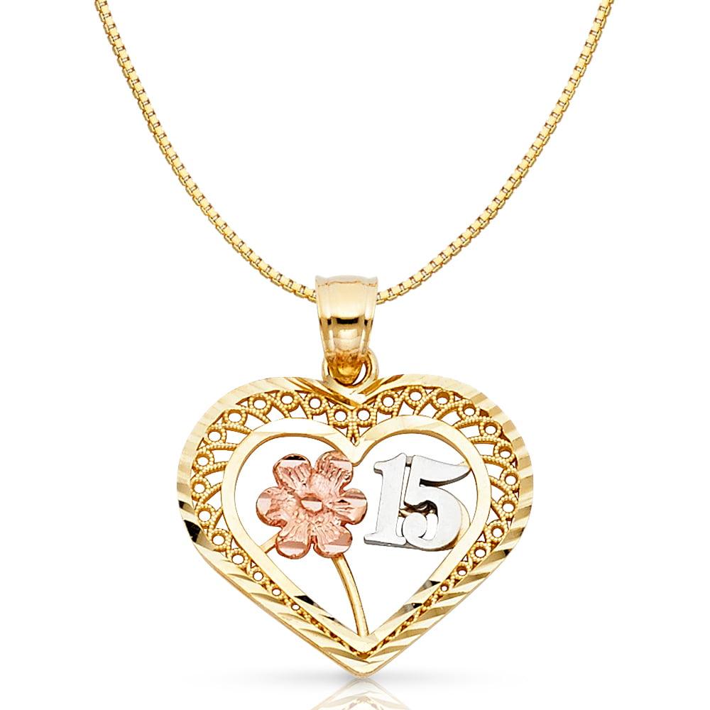 Details about  /14K 3 Tone Gold Quinceanera Heart Charm Pendant /& 0.8mm Box Chain Necklace