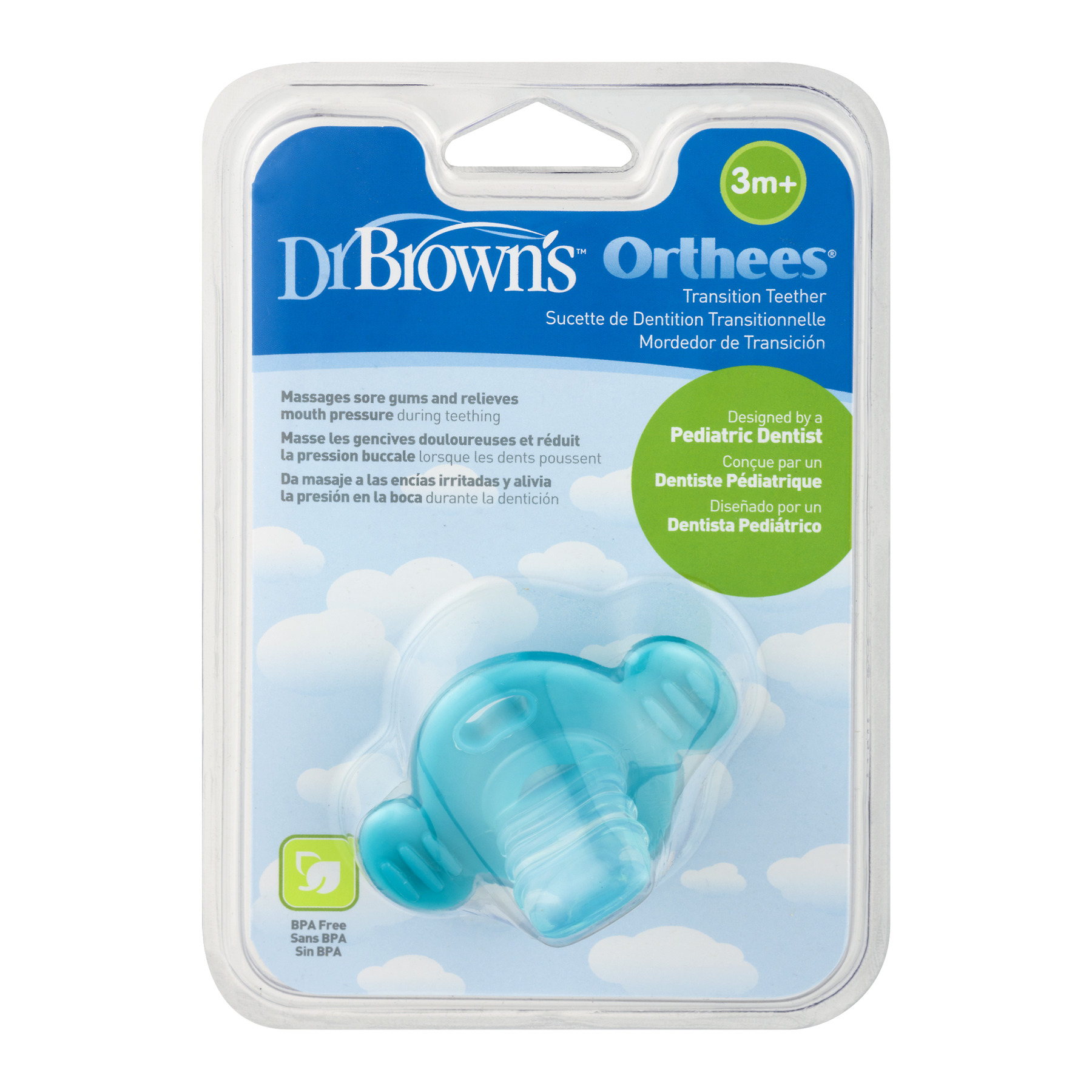 Dr. Brown's Orthees Transition Teether, BPA-Free, Blue