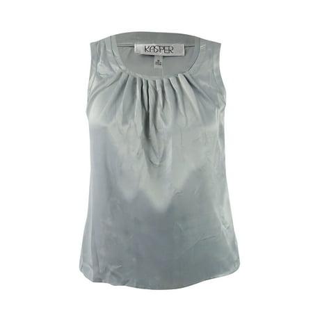 - Kasper Women's Pebble-Charmeuse Pleat-Neck Shell Top (M, Silver)