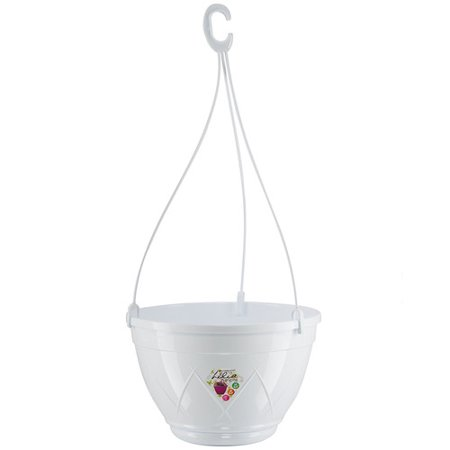 Hanging Basket LILIA 8.1 Inch, White Color, With Attached Saucer