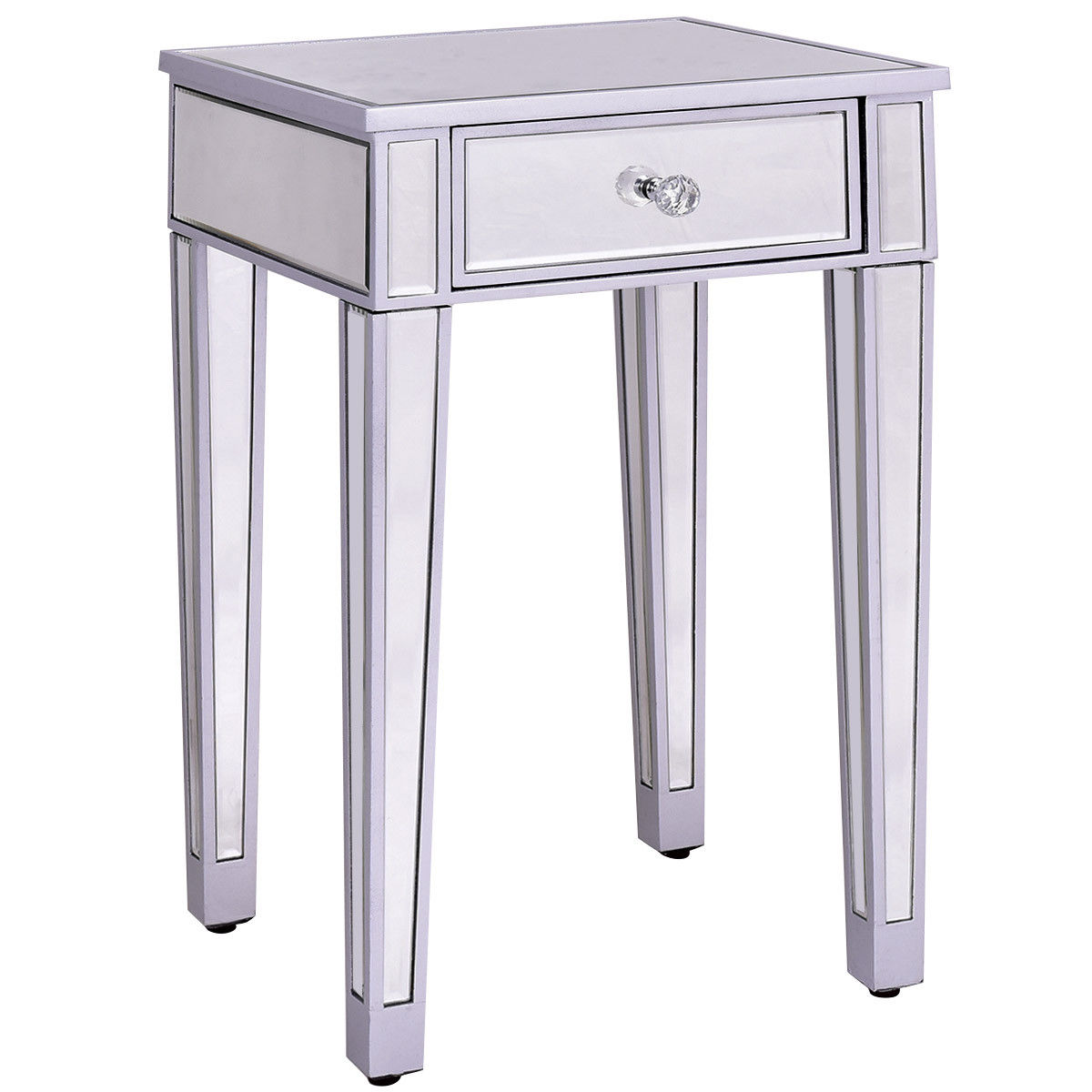 Costway Mirrored Accent Table Nightstand End Table Bedside Storage Cabinet Drawer