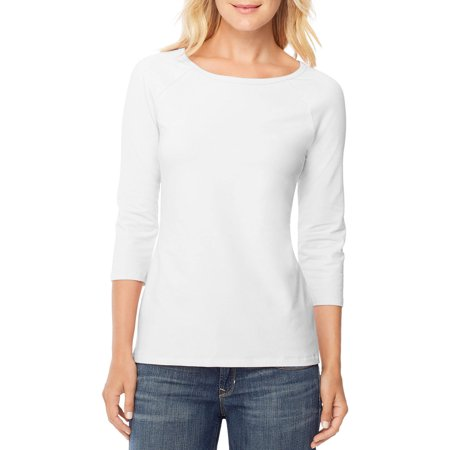 - Women's Stretch Cotton Raglan 3/4-Sleeve Tee