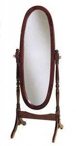 Legacy Decor Swivel Full Length Wood Cheval Floor Mirror, Cherry Finish by