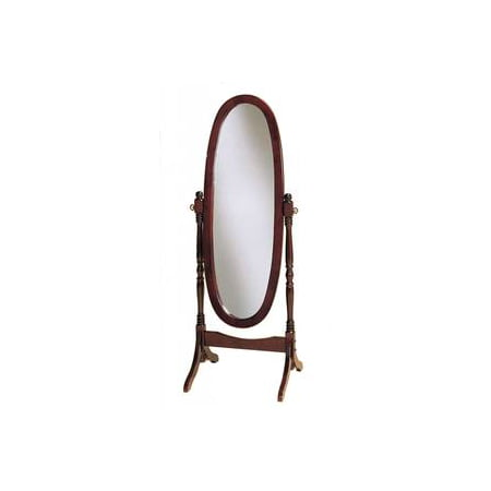 Cherry Oval Cheval Mirror (Legacy Decor Swivel Full Length Wood Cheval Floor Mirror, Cherry)