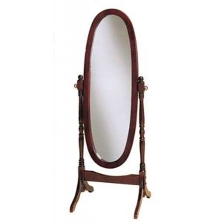 Legacy Decor Swivel Full Length Wood Cheval Floor Mirror, Cherry Finish