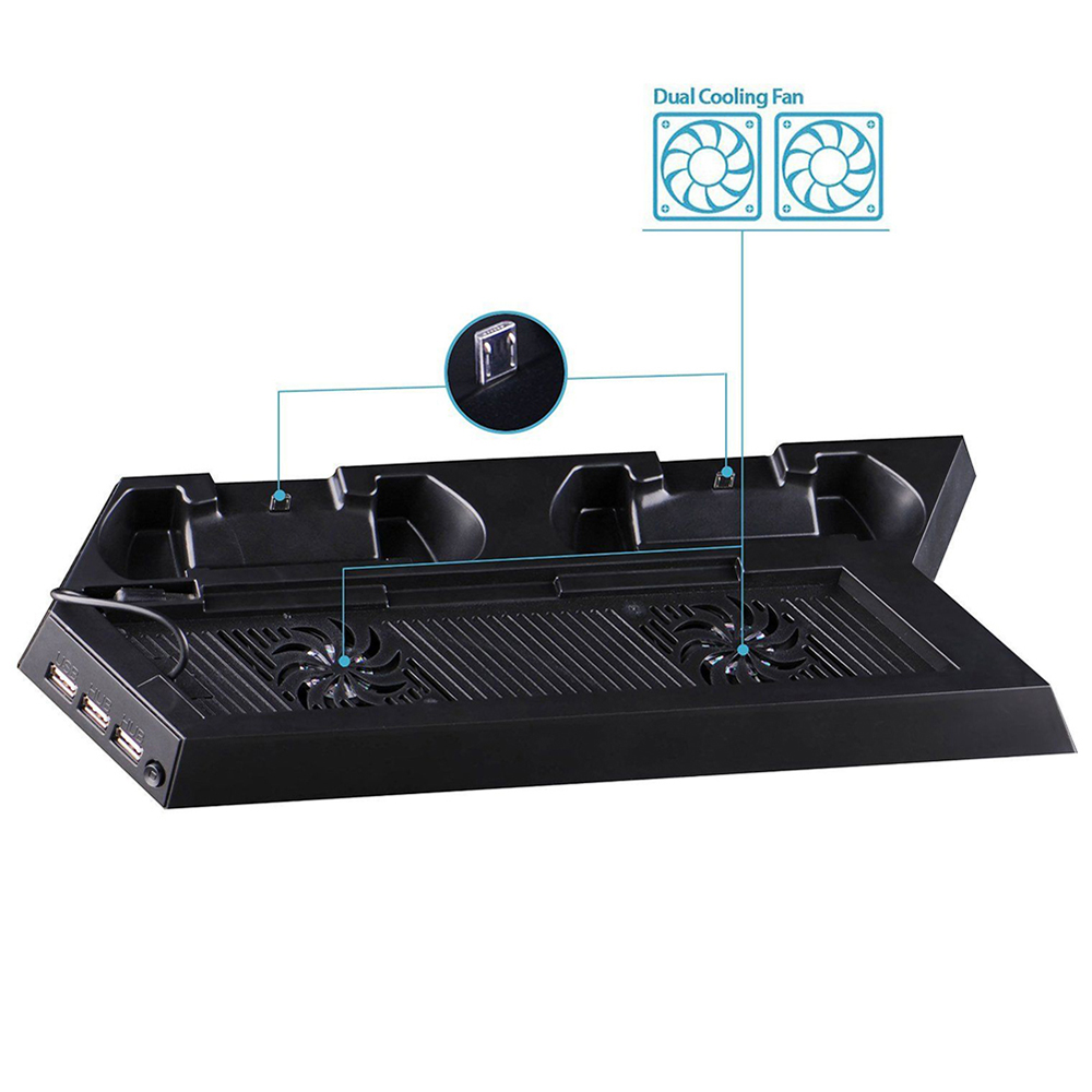 Cooling Station Vertical Stand with 2 Controller Charging Dock and USB Hub for PS4 Playstaion 4 - image 4 of 5