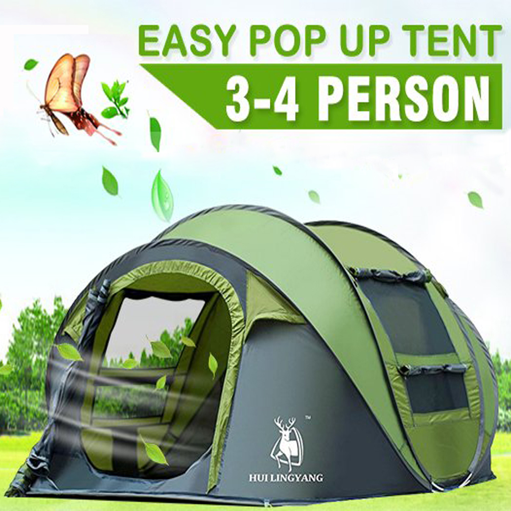 Camping Tents 3/4 Person/People Easy Up Instant Setup Ventilated,IClover [2 Door] [Mesh Window] Waterproof Automatic Pop Up Big Family Privacy Dome Tent Shelter for Backpacking Picnic Mothers Day Gift