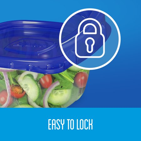 Ziploc Brand Deep Square Containers, Smart Snap Technology, 3 ct