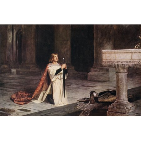 The Vigil Painting By John Pettie A Squire Performs His Vigil Before Receiving His Knighthood The Following Day From The Worlds Greatest Paintings Published By Odhams Press London 1934 Canvas Art - Ke ()