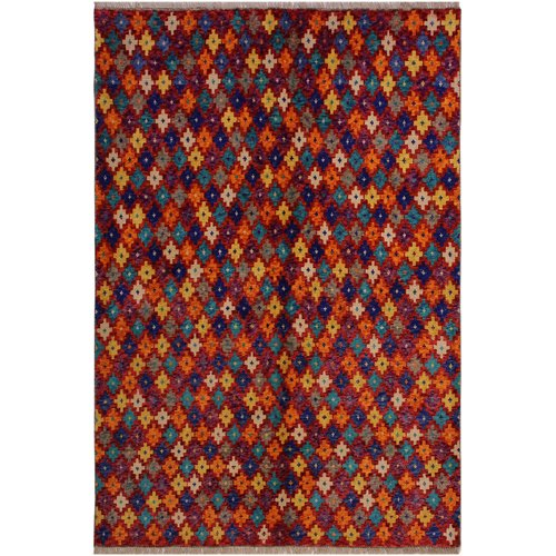 Isabelline One-of-a-Kind Laudalino  Hand-Knotted 5'1'' x 6'7'' Wool Red/Purple/Orange Area Rug