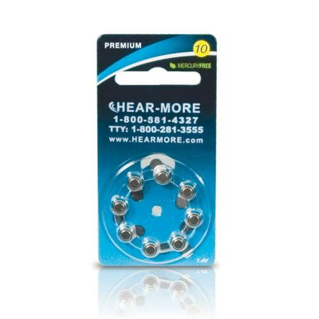 HearMore Hearing Aid Batteries- Size 10 -8-pk
