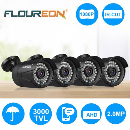 FLOUREON 1080P 2.0MP HD CMOS Sensor AHD Bullet Analog Camera, 2.0MP Full HD Weatherproof CCTV Security Camera for Outdoor Surveillance - 4 Pack (1/3 B/w Weatherproof Bullet Camera)