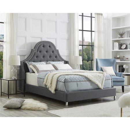 Aaron Light Grey Linen Headboard Queen Size Upholstered Tufted