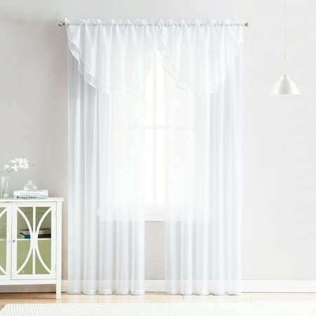 4 Piece Sheer Window Curtain Set for Living Room, Dining Room, Bay Windows: 2 Voile Valance Curtains and 2 Panels 90 in Long (White)White