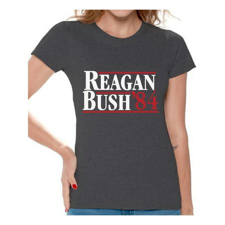 Awkward Styles Reagan Bush 84 Tshirt Retro Presidential Campaign Shirt Reagan Bush Women's Shirt Reagan Bush 84 T Shirt for Women Republican Gifts for Her Ronald Reagan Bush Shirt Reagan Bush