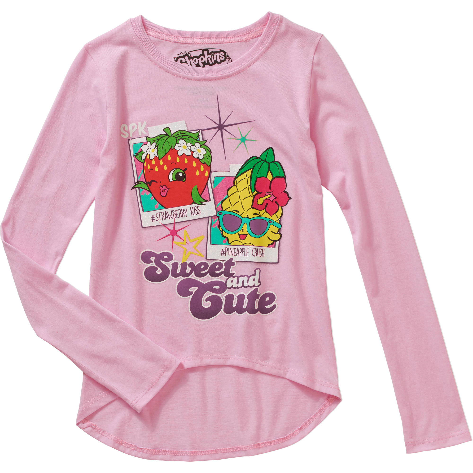 Shopkins Girls' Shopkins Polaroids Long Sleeve Scoop Neck HiLo Graphic Top