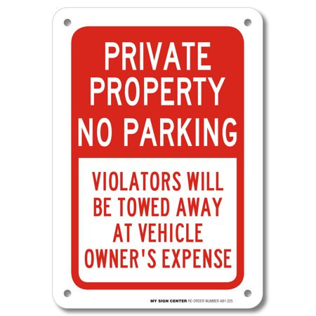 Fan Parking Sign - Private Property No Parking Sign- 10