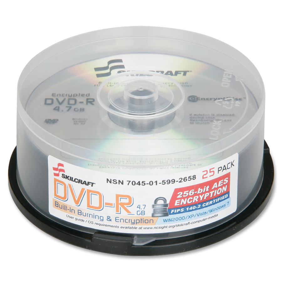Skilcraft Recordable DVD, Encrypted, 4.7GB, 120min, 25/Spindle, Silver - NSN5992658