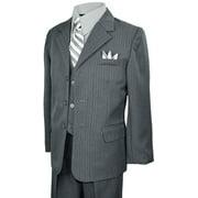 Boys Teens Gray Pinstripes Suit Dresswear Outfit Set