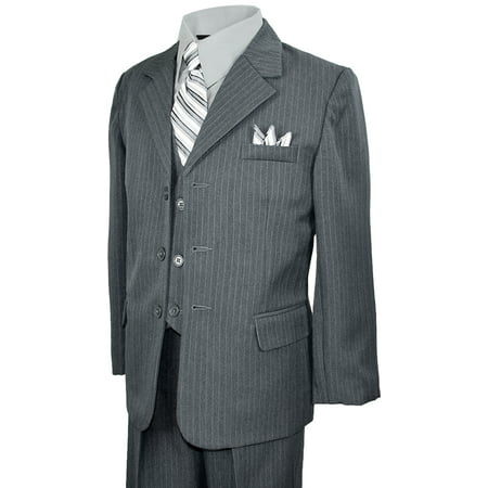 Boys Teens Gray Pinstripes Suit Dresswear Outfit Set