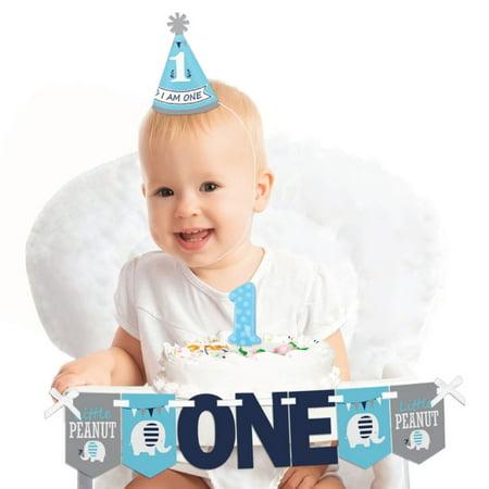 Blue Elephant 1st Birthday - First Birthday Boy Smash Cake Decorating Kit - High Chair Decorations (1st Birthday Smash Cake)