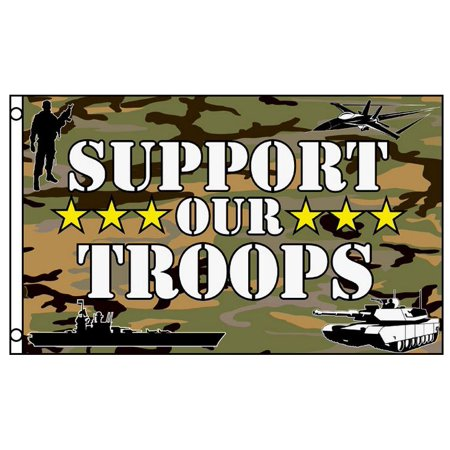 SUPPORT OUR TROOPS Flag Camo Camouflage Military Banner 3 x 5 Foot Flag - Troops Garden Flag