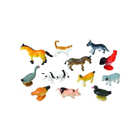 Mini Farm Animal Set Diorama Recreation 12 Pack Toys