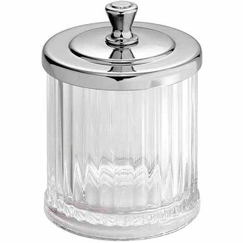 InterDesign Alston Bathroom Vanity Canister Jar for Cotton Balls, Swabs, Cosmetic Pads, Clear/Chrome
