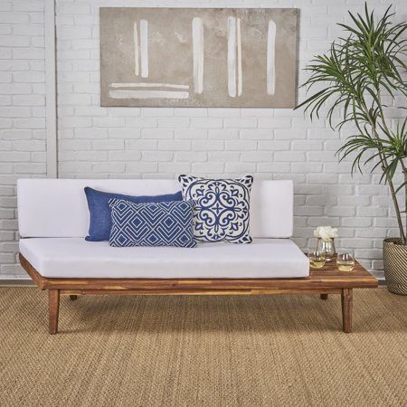 Noble House Buron Indoor Minimalist Acacia Wood Right Sided Sofa with Cushions, Sandblast Finish, White ()
