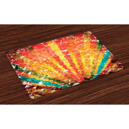 Diamond Placemats Set of 4 Pop Art Diamond Sun Rays Beams Shady Stripes Nature Rainbow Design Groovy Graphic, Washable Fabric Place Mats for Dining Room Kitchen Table Decor,Orange Red, by (Shady Rays)