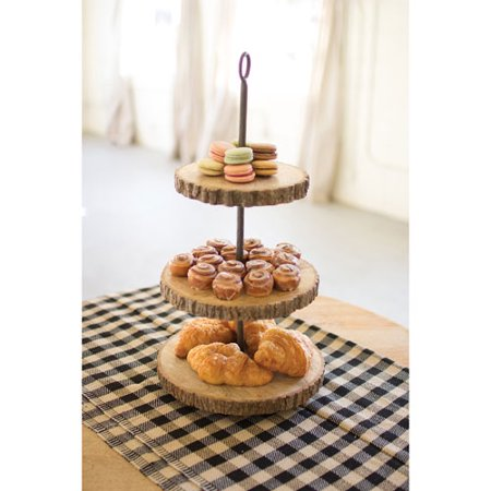 Three Tiered Pine And Metal Display Stand](3 Tier Metal Stand)