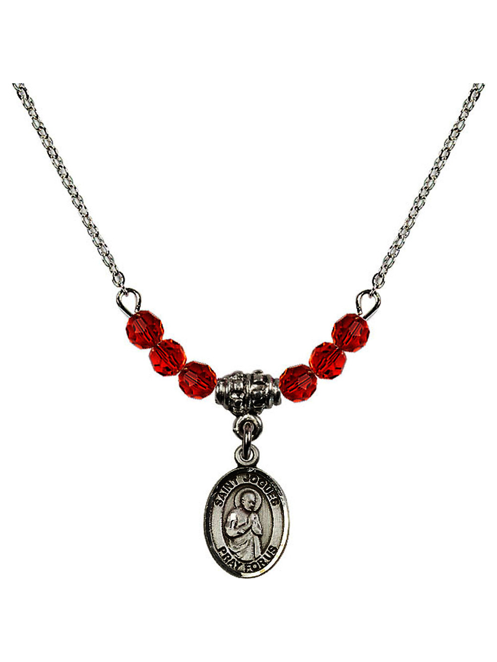18-Inch Rhodium Plated Necklace with 6mm Sapphire Birthstone Beads and Sterling Silver Saint John Baptist de la Salle Charm.