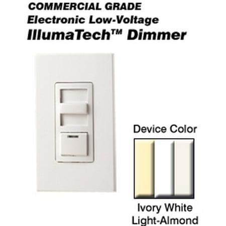 Leviton IPE04-1LZ Dimmer Electronic Low-Voltage Single-Pole/3-Way 400VA 300W 120 Volt IllumaTech Decora Style Electro-Mechanical - White Ivory Light