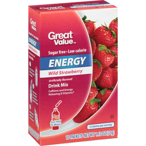 Great Value Sugar-Free Wild Strawberry Energy Drink Mix, 1.1 Oz., 10 Count