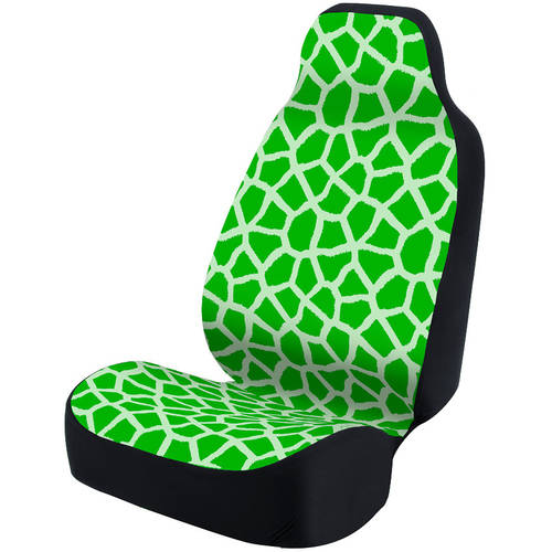 Coverking Universal Seat Cover Fashion Print, Ultra Suede, Giraffe Green Spots and Green Background with Black Interlock Backing