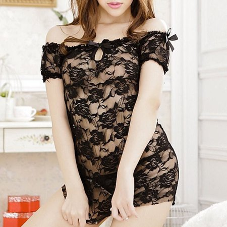 MayShow Clearance Women Sexy Lingerie Lace Tight Temptation Transparent Pajamas with T Pants Underwear for Women Discount Deals