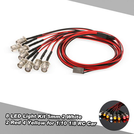 8 LED Light Kit 2 White 2 Red 4 Yellow for 1/10 1/8 Traxxas HSP Redcat RC4WD Tamiya Axial SCX10 D90 HPI RC Car ()