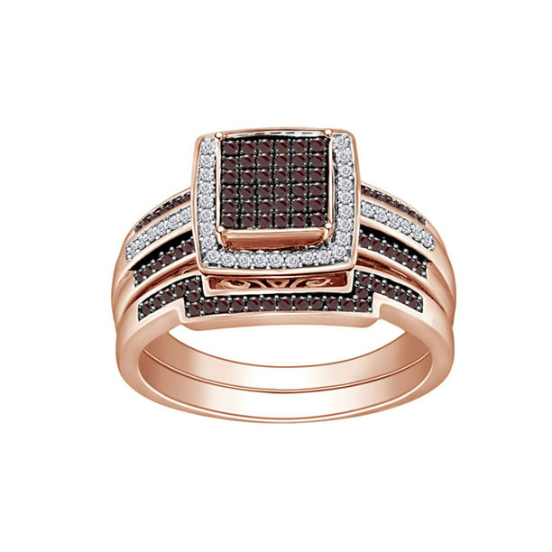 3/8 Cttw Womens Round Brown champagne Diamond Halo Bidel Engagement Ring 10Kt Solid Rose Gold (Brown Color, I2-I3 Clarity, 0.37 Carat) Ring Size-7.5