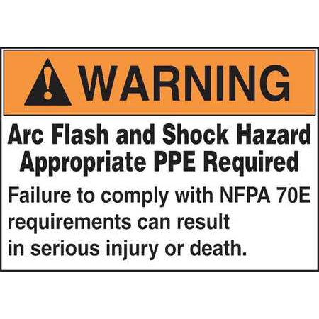 ACCUFORM SIGNS LRLE308 Label, 3-1/2x5, Warning Arc Flash, PK100