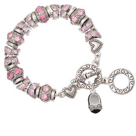 Enamel Baby Shoe Charm (Silvertone Black Enamel Baby Shoe with Bow Pink Butterfly Bead Charm Bracelet )