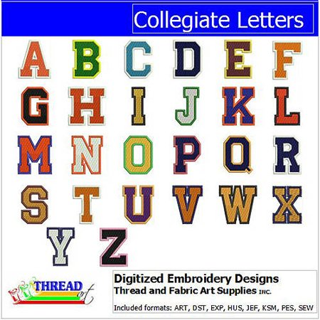 ThreadArt Machine Embroidery Designs Collegiate Letters CD