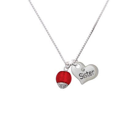 (12mm Scarlett Red Roller Spinner with Silvertone Lining Glass Spinner Sister Heart Necklace)