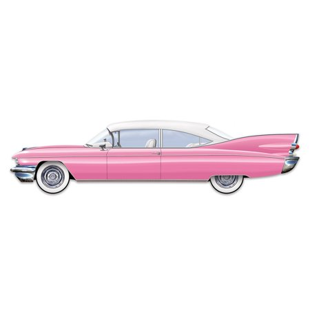 Club Pack of 12 Pink and White Jointed Classic 50's Cruisin' Car Party Decorations 6