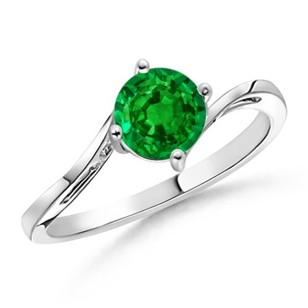 877f9ad29 Angara - May Birthstone Ring - Classic Round Emerald Solitaire Bypass Ring  in Platinum (6mm Emerald) - SR0163E-PT-AAAA-6-13 - Walmart.com