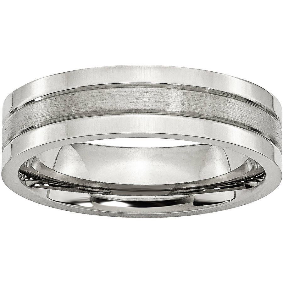 Jewellery Men Diamond2Deal Mens Stainless Steel Polished Hammered and Grooved 6.00mm Band Ring
