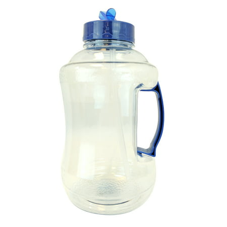 1.68 Liter BPA FREE Reusable Plastic Drinking Water Bottle Jug Container with Plastic Handle and Drinking Straw -  Natural Blue