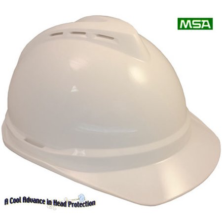 Light Blue Hard Hat (MSA Advance Vented Lightweight Hard hats with Staz On Suspensions, White)