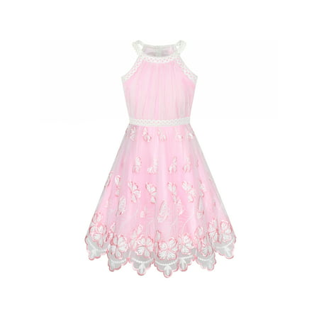 3472500ab33b Sunny Fashion - Girls Dress Pink Butterfly Embroidered Halter Dress ...
