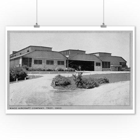 Troy, Ohio - Exterior View of Waco Aircraft Company Photo (9x12 Art Print, Wall Decor Travel Poster) Aircraft Real Photo